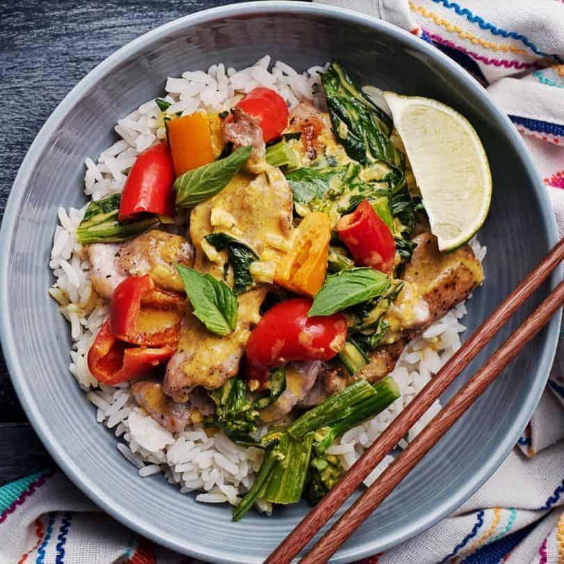 Goodfood Thai Coconut & Kaffir Lime Pork Curry meal plate