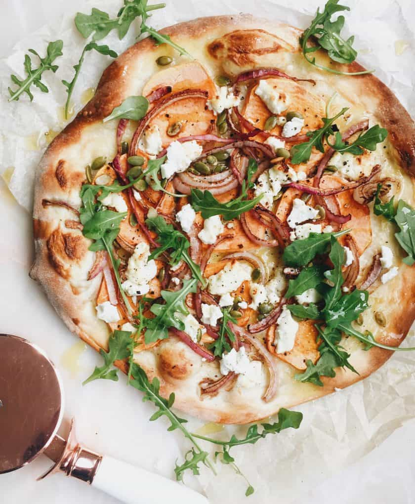 cook it goat cheese and pumpkin seeds pizza