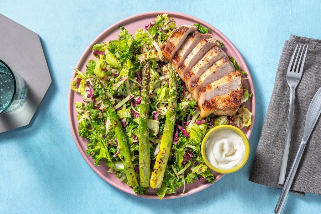 Savoury Smoky Pork Chops with Tangy Apple Slaw and Asparagus from HelloFresh