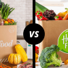 Goodfood and HelloFresh boxes divided by a line; VS